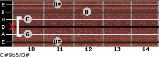 C#9b5/D# for guitar on frets 11, 10, x, 10, 12, 11