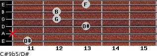 C#9b5/D# for guitar on frets 11, x, 13, 12, 12, 13