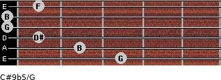 C#9b5/G for guitar on frets 3, 2, 1, 0, 0, 1