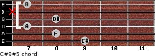 C#9#5 for guitar on frets 9, 8, 7, 8, x, 7