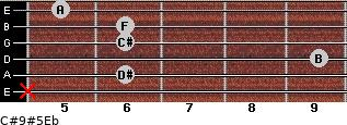 C#9#5/Eb for guitar on frets x, 6, 9, 6, 6, 5