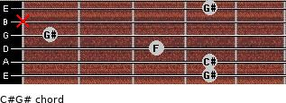 C#/G# for guitar on frets 4, 4, 3, 1, x, 4