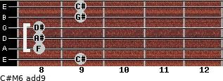 C#M6(add9) for guitar on frets 9, 8, 8, 8, 9, 9