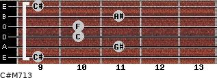 C#M7/13 for guitar on frets 9, 11, 10, 10, 11, 9