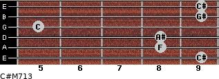 C#M7/13 for guitar on frets 9, 8, 8, 5, 9, 9