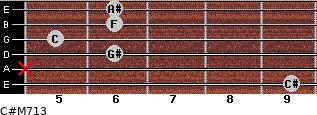 C#M7/13 for guitar on frets 9, x, 6, 5, 6, 6