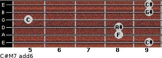 C#M7(add6) for guitar on frets 9, 8, 8, 5, 9, 9