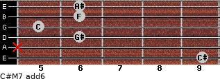 C#M7(add6) for guitar on frets 9, x, 6, 5, 6, 6