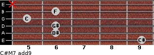 C#M7(add9) for guitar on frets 9, 6, 6, 5, 6, x
