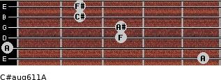 C#aug6/11/A for guitar on frets 5, 0, 3, 3, 2, 2