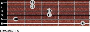 C#aug6/11/A for guitar on frets 5, 1, 3, 3, 2, 2