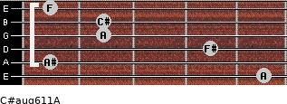 C#aug6/11/A for guitar on frets 5, 1, 4, 2, 2, 1