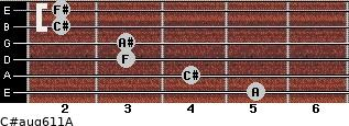 C#aug6/11/A for guitar on frets 5, 4, 3, 3, 2, 2