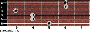 C#aug6/11/A for guitar on frets 5, 4, 4, 3, 6, 6