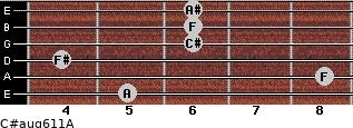 C#aug6/11/A for guitar on frets 5, 8, 4, 6, 6, 6