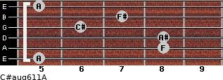 C#aug6/11/A for guitar on frets 5, 8, 8, 6, 7, 5