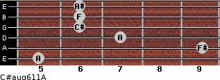 C#aug6/11/A for guitar on frets 5, 9, 7, 6, 6, 6