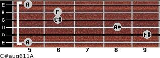 C#aug6/11/A for guitar on frets 5, 9, 8, 6, 6, 5