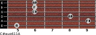 C#aug6/11/A for guitar on frets 5, 9, 8, 6, 6, 6