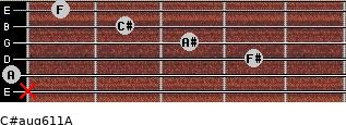 C#aug6/11/A for guitar on frets x, 0, 4, 3, 2, 1