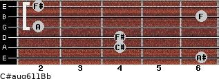 C#aug6/11/Bb for guitar on frets 6, 4, 4, 2, 6, 2