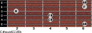 C#aug6/11/Bb for guitar on frets 6, 4, 4, 2, 6, 6