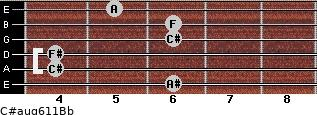 C#aug6/11/Bb for guitar on frets 6, 4, 4, 6, 6, 5