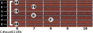 C#aug6/11/Bb for guitar on frets 6, 8, 7, 6, 7, 6