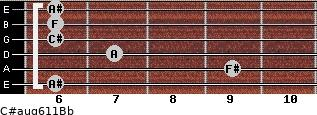 C#aug6/11/Bb for guitar on frets 6, 9, 7, 6, 6, 6