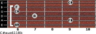C#aug6/11/Bb for guitar on frets 6, 9, 7, 6, 6, 9