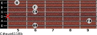 C#aug6/11/Bb for guitar on frets 6, 9, x, 6, 6, 5