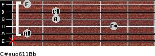 C#aug6/11/Bb for guitar on frets x, 1, 4, 2, 2, 1