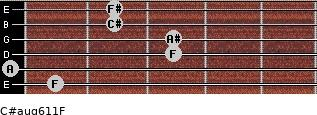 C#aug6/11/F for guitar on frets 1, 0, 3, 3, 2, 2