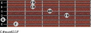 C#aug6/11/F for guitar on frets 1, 0, 4, 3, 2, 2