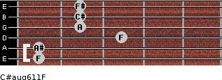 C#aug6/11/F for guitar on frets 1, 1, 3, 2, 2, 2