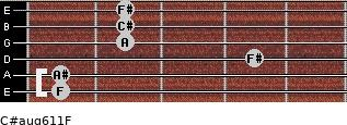 C#aug6/11/F for guitar on frets 1, 1, 4, 2, 2, 2