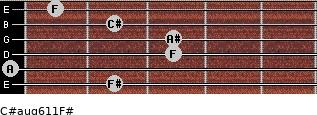 C#aug6/11/F# for guitar on frets 2, 0, 3, 3, 2, 1