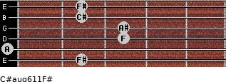 C#aug6/11/F# for guitar on frets 2, 0, 3, 3, 2, 2