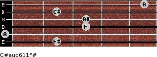 C#aug6/11/F# for guitar on frets 2, 0, 3, 3, 2, 5