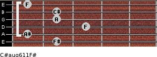 C#aug6/11/F# for guitar on frets 2, 1, 3, 2, 2, 1