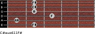 C#aug6/11/F# for guitar on frets 2, 1, 3, 2, 2, 2