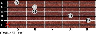 C#aug6/11/F# for guitar on frets x, 9, 8, 6, 6, 5
