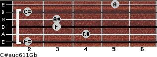 C#aug6/11/Gb for guitar on frets 2, 4, 3, 3, 2, 5
