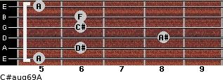 C#aug6/9/A for guitar on frets 5, 6, 8, 6, 6, 5