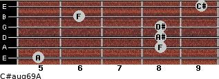 C#aug6/9/A for guitar on frets 5, 8, 8, 8, 6, 9