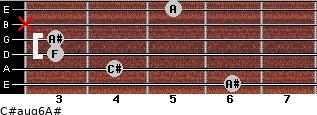 C#aug6/A# for guitar on frets 6, 4, 3, 3, x, 5