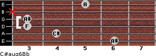 C#aug6/Bb for guitar on frets 6, 4, 3, 3, x, 5