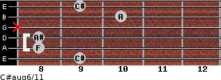 C#aug6/11 for guitar on frets 9, 8, 8, x, 10, 9