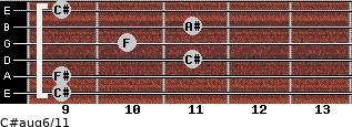 C#aug6/11 for guitar on frets 9, 9, 11, 10, 11, 9