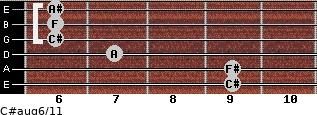 C#aug6/11 for guitar on frets 9, 9, 7, 6, 6, 6